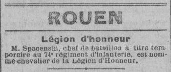 Lucien Edmond Spacenski, l'anonyme du Journal de Rouen du 24 décembre 1918