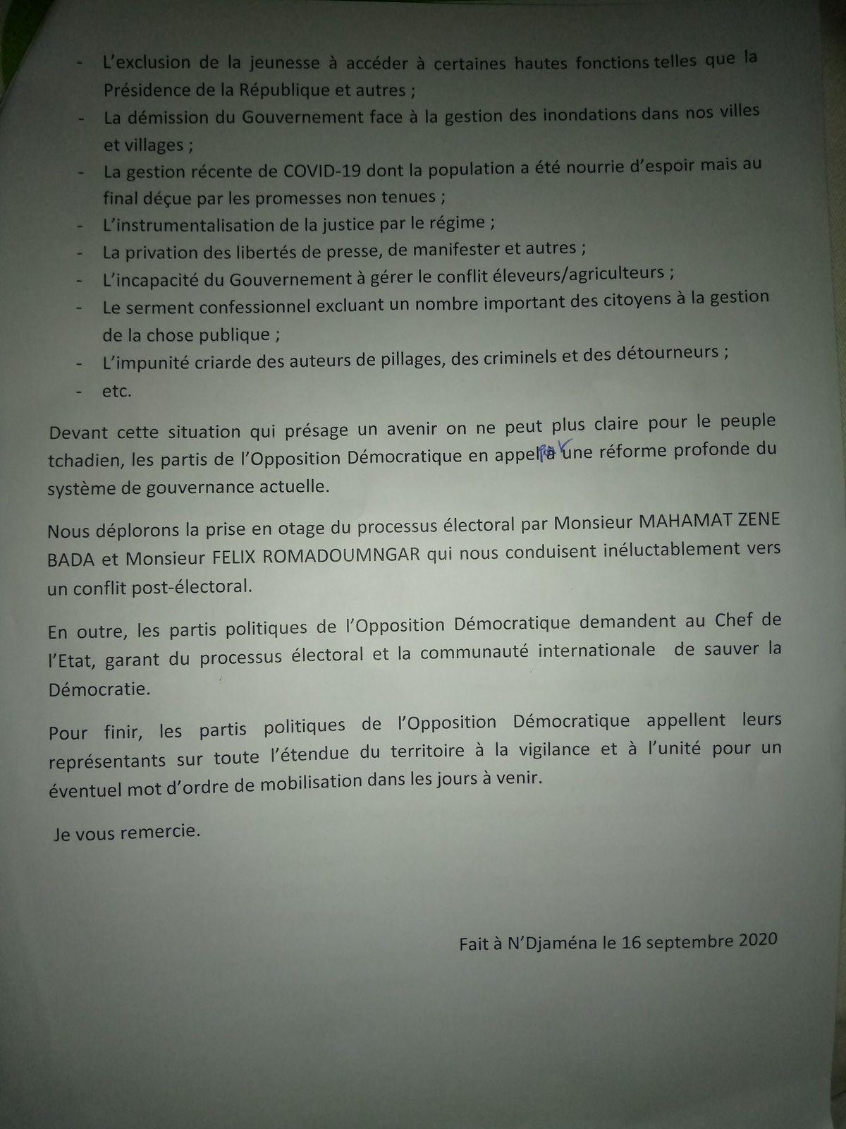 L'Opposition Démocratique Tchadienne appelle toutes ses bases à la vigilance et à un mot d'ordre général