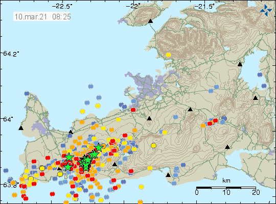 Reykjanes Peninsula - location and magnitude of earthquakes as of 10.03.2021 / 08:25 - Doc. IMO