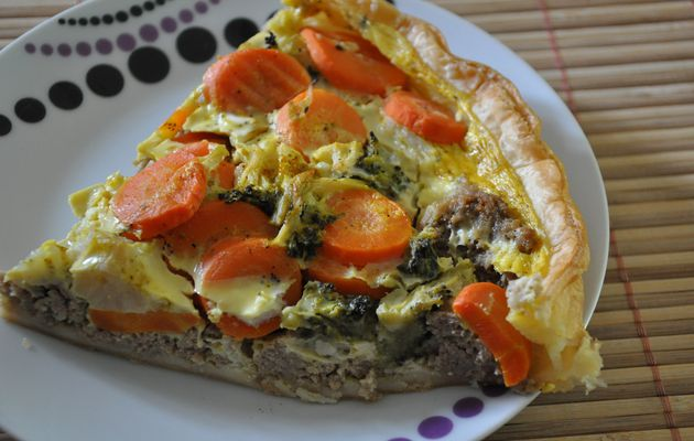 Tarte brocolis -boeuf haché-carottes