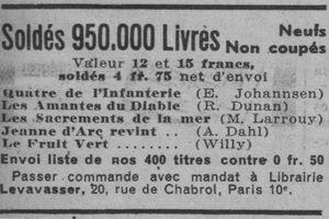 """Solde du roman """"Les Amantes du Diable"""" de Renée Dunan en 1933"""
