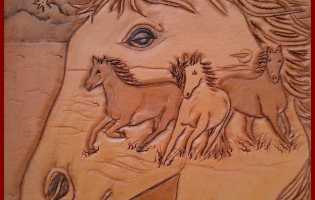 274 - tableau cuir - rêve de cheval