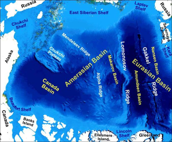 Main bathymetric/topographic features of the Arctic Ocean