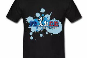 T shirt noir pour hommes La France sur ta peau en bleu blanc rouge