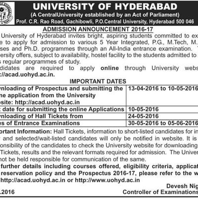 """UNIVERSITY OF HYDERABAD"" NOTIFICATION RELEASED,LAST DATE:10-5-2016"