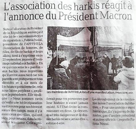 L'association des harkis AFFFHELA réagit à l'annonce du Président Macron
