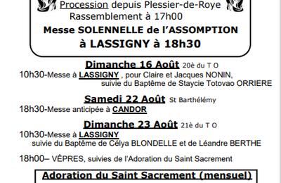Calendrier des Messes Lassigny