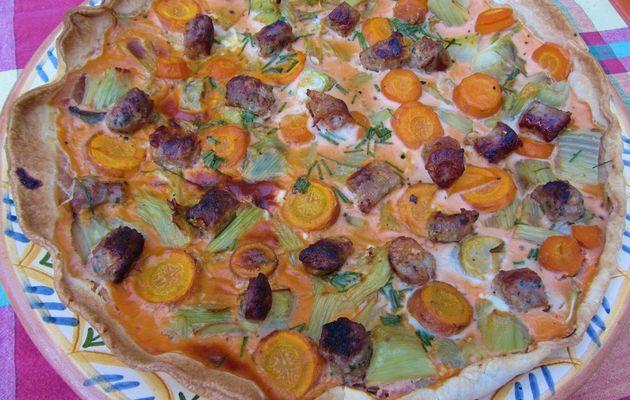 Tarte au fenouil et aux saucisses