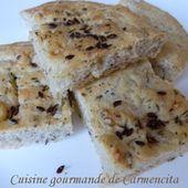 Focaccia au thym, graines de lin brun et fleur de sel - Cuisine gourmande de Carmencita