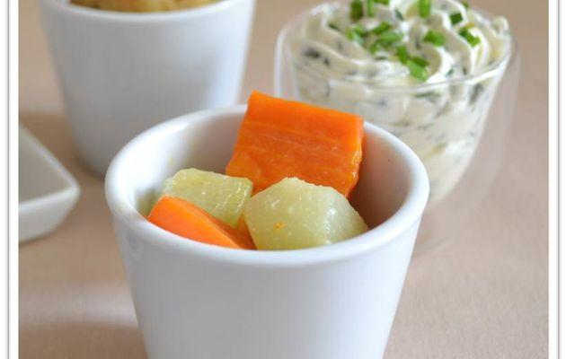 Légumes à l'étuvée et sauce ciboulette