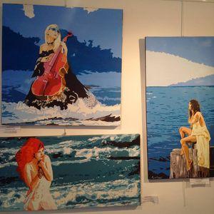 France - Aix en Provence.  Art et Eau 2016 : les oeuvres arrivent à la Galerie Esdac, préparation du vernissage de ce samedi !
