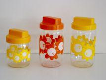 Pot Henkel  fleur orange ou jaune Années 70 - Vintage
