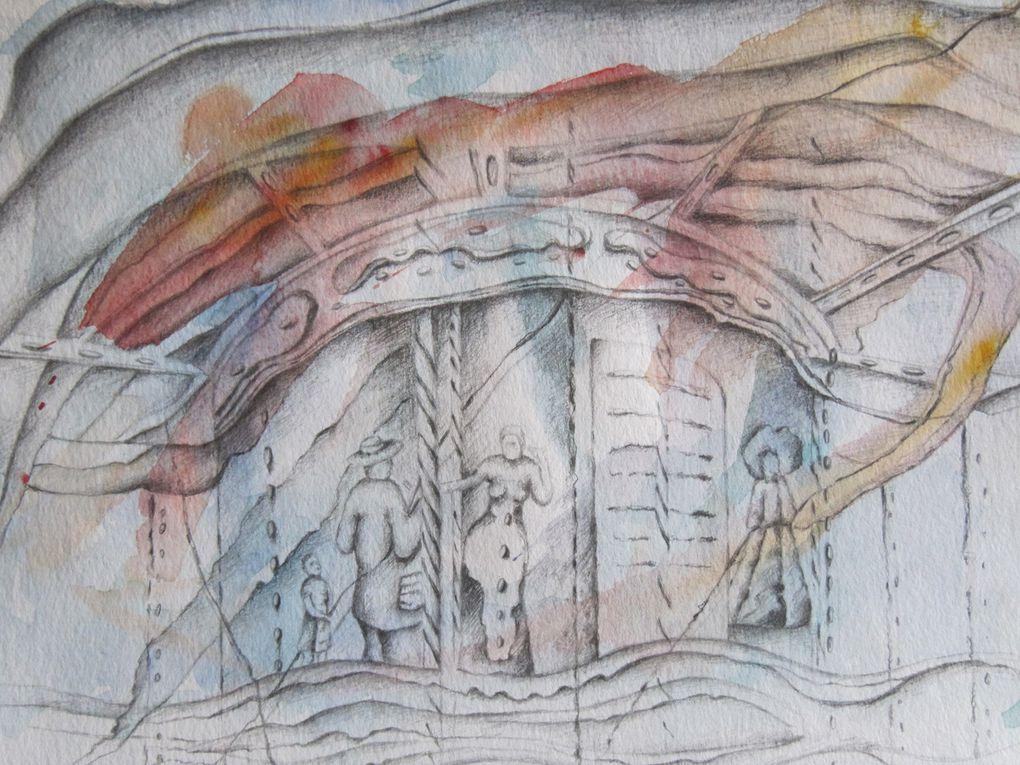 dessins aquarelles et crayon sur papier
