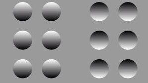 lumière vient du haut on sait que les ronds gauche sont convexes et  droite concave