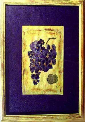 Tableaux Herbiers - Compositions de fleurs pressées sur fond de cuir, tissu, liège, peinture