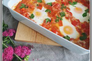Tomates poivrons oeufs au four  ... Une Chouchouka ?