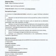 Offre emploi St Julien du Verdon Agent Technique Polyvalent