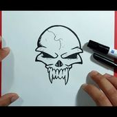 Como dibujar una calavera paso a paso 37   How to draw a skull 37