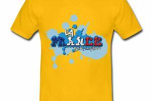 T shirt jaune pour hommes La France sur ta peau en bleu blanc rouge