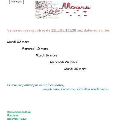 Dates de permanence mars 2021