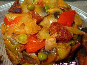 poêlée de légumes au chorizo et merguez