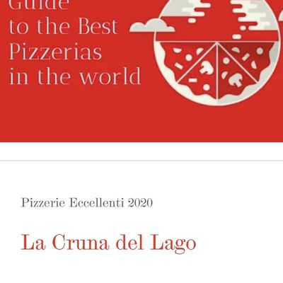 "La Cruna del Lago su ""50 top pizza"""