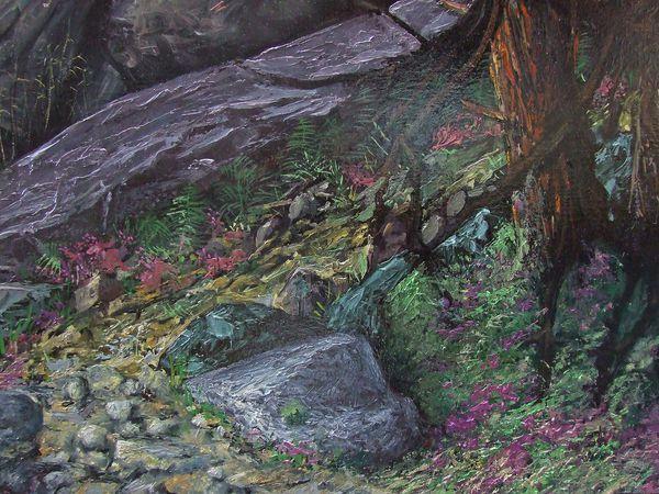 """Exploitation des gris colorés pour le tableau """"La forêt de Fontainebleau"""" Huile sur toile 230x113 cm Bhavsar"""