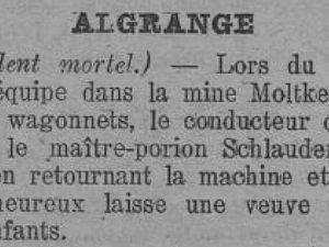 Accidents mortels dans les mines de fer d'Algrange