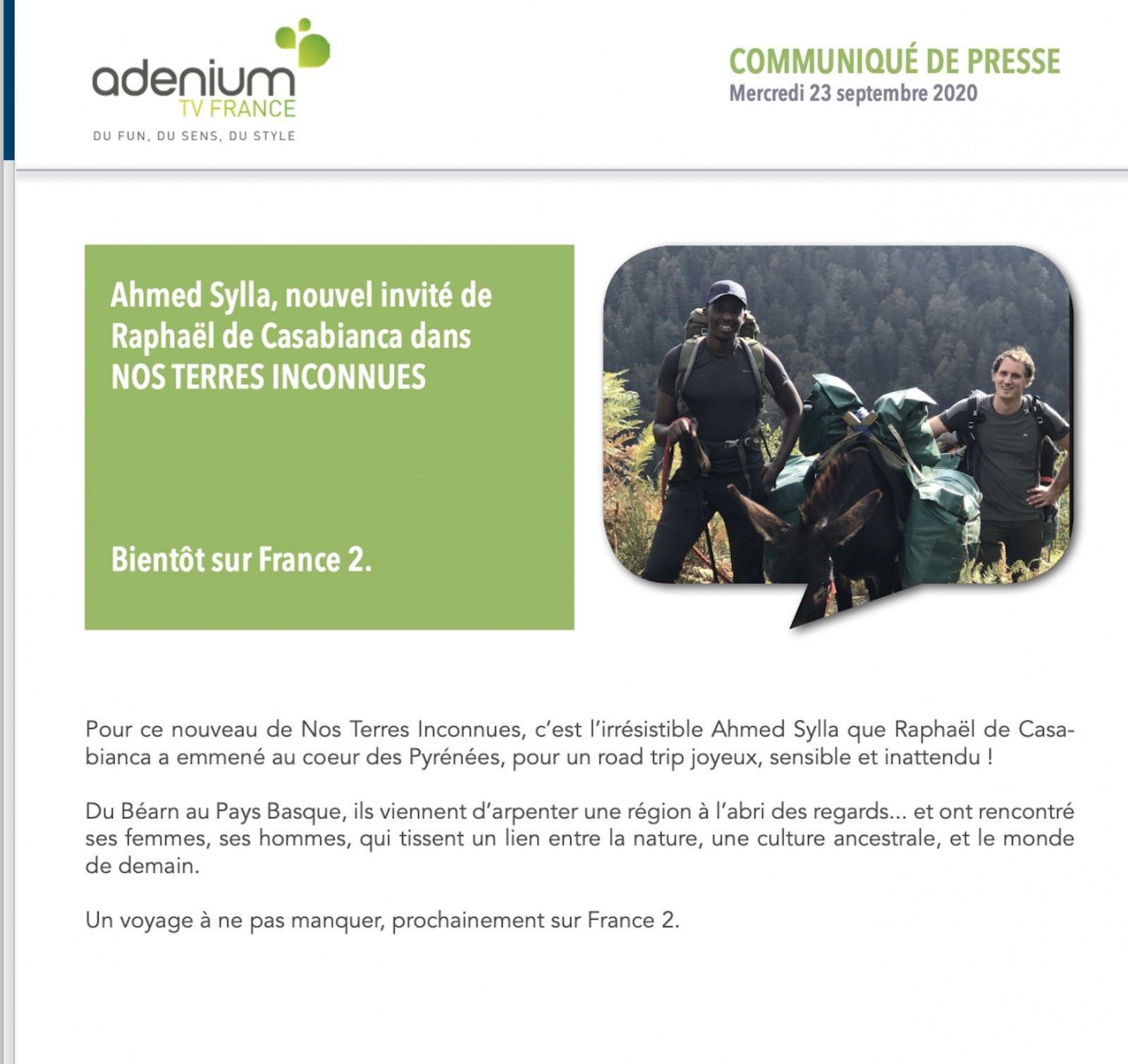 """Ahmed Sylla, prochain participant de """"Nos Terres inconnues"""" sur France 2."""