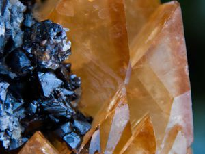Calcite on Sphalerite from Elmwood Mine, Tennessee, USA (size: Cabinet)
