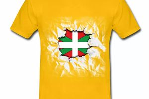 T shirt Pays Basque jaune homme 64 Drapeau basque Design