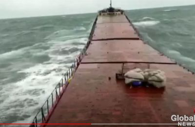Video - A bulk carrier breaks in two in the middle of a storm