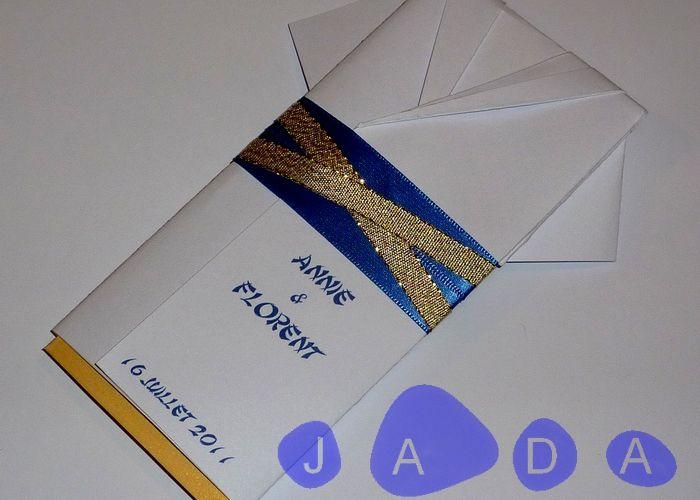 Faire-part origami kimono, doré et bleu roi, thème Asie...