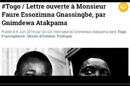 #Vidéo  #Togo / Lettre ouverte à Monsieur Faure Essozimna Gnassingbé, par Gnimdewa Atakpama