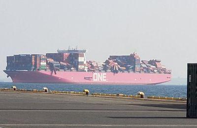 Importants dégâts sur le porte-conteneurs ONE Apus, arrivé au Japon