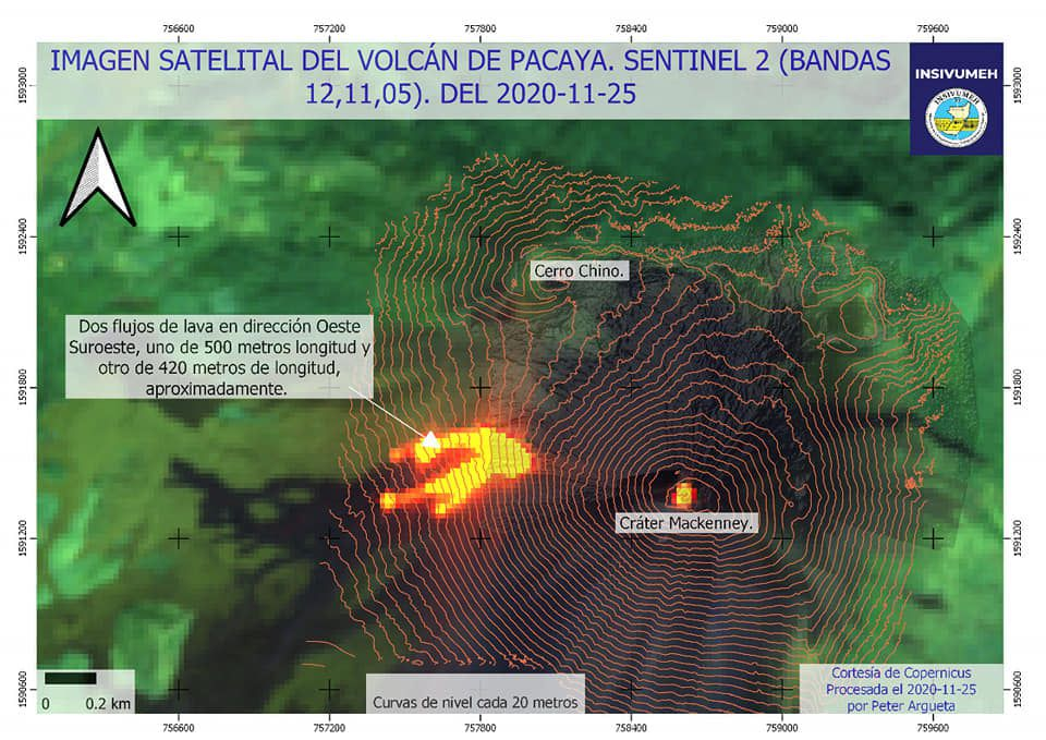 Pacaya - Sentinel-2 bands image 12,11,5 from 11.25.2020 - via Insivumeh