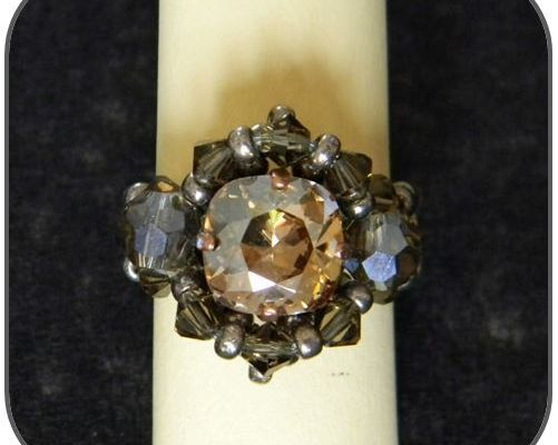 Bague vintage en cristal (Swarovski Elements)