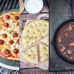 Pizza, focaccia et gâteau au chocolat, cuisson au barbecue