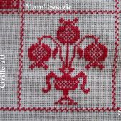 SAL : Plaid Broderie Rouge... Grille 70 / I 13 - Chez Mamigoz