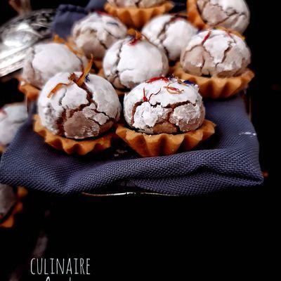 Mini tartelettes ghriba aux noix à la ganache chocolat-café