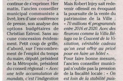 Budget de la ville de Nice (Nice Matin)