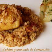 Haut de cuisse de poulet en cocotte au risotto de chorizo - Cuisine gourmande de Carmencita