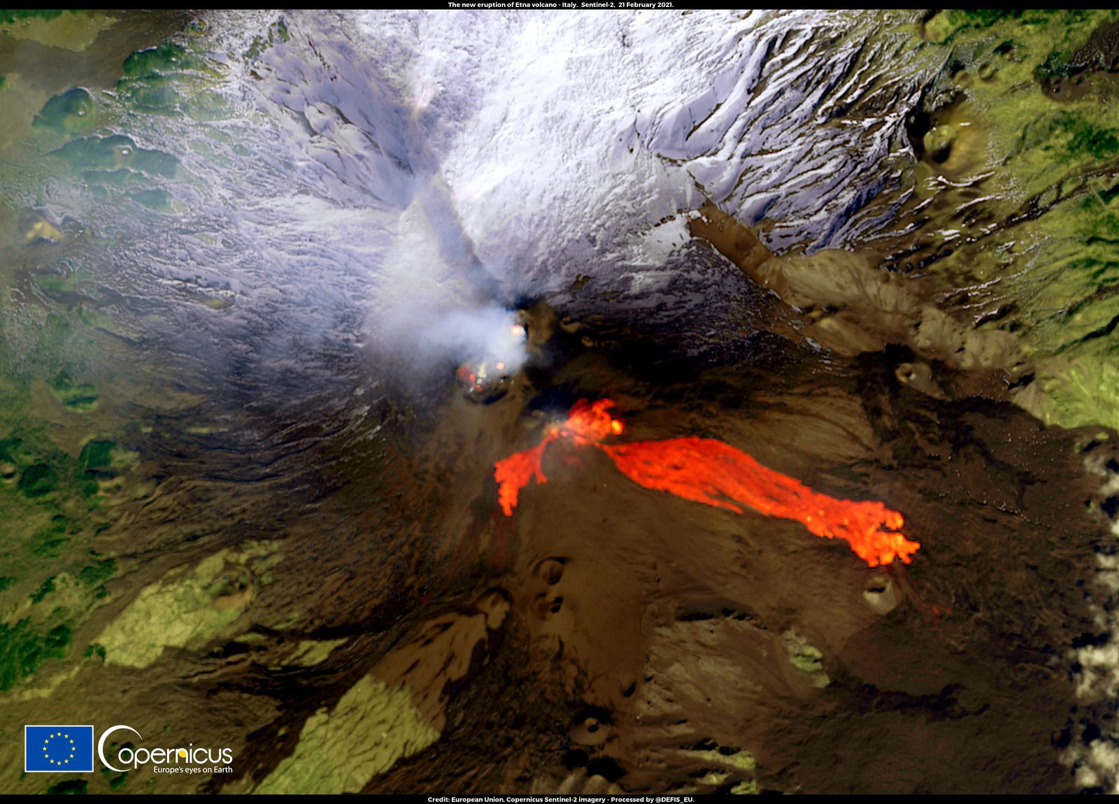 Etna - the SEC lava flows and the gases emitted by the other summit craters on 02.21.2021 - Doc. Copernicus / Sentinel-2 - un clic pour agrandir