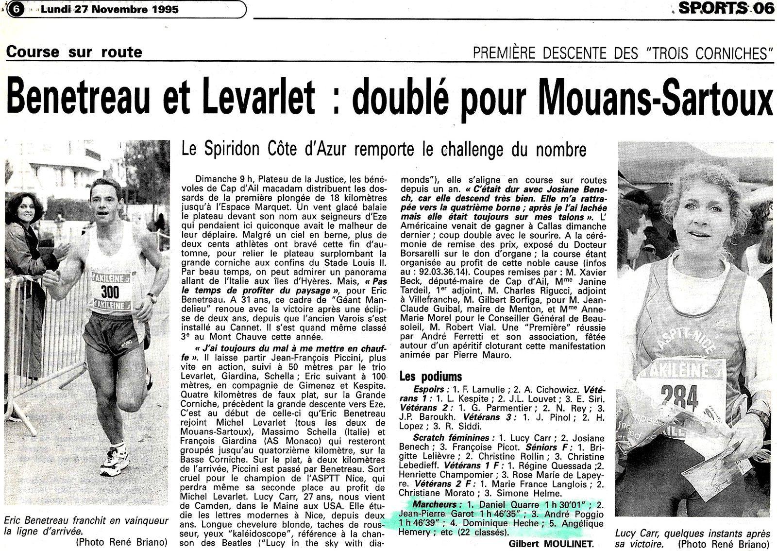 """PREMIERE DESCENTE DES """" TROIS CORNICHES """"  27.11.1995"""