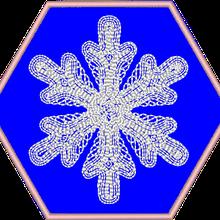 Flocon sur appliqué hexagonal