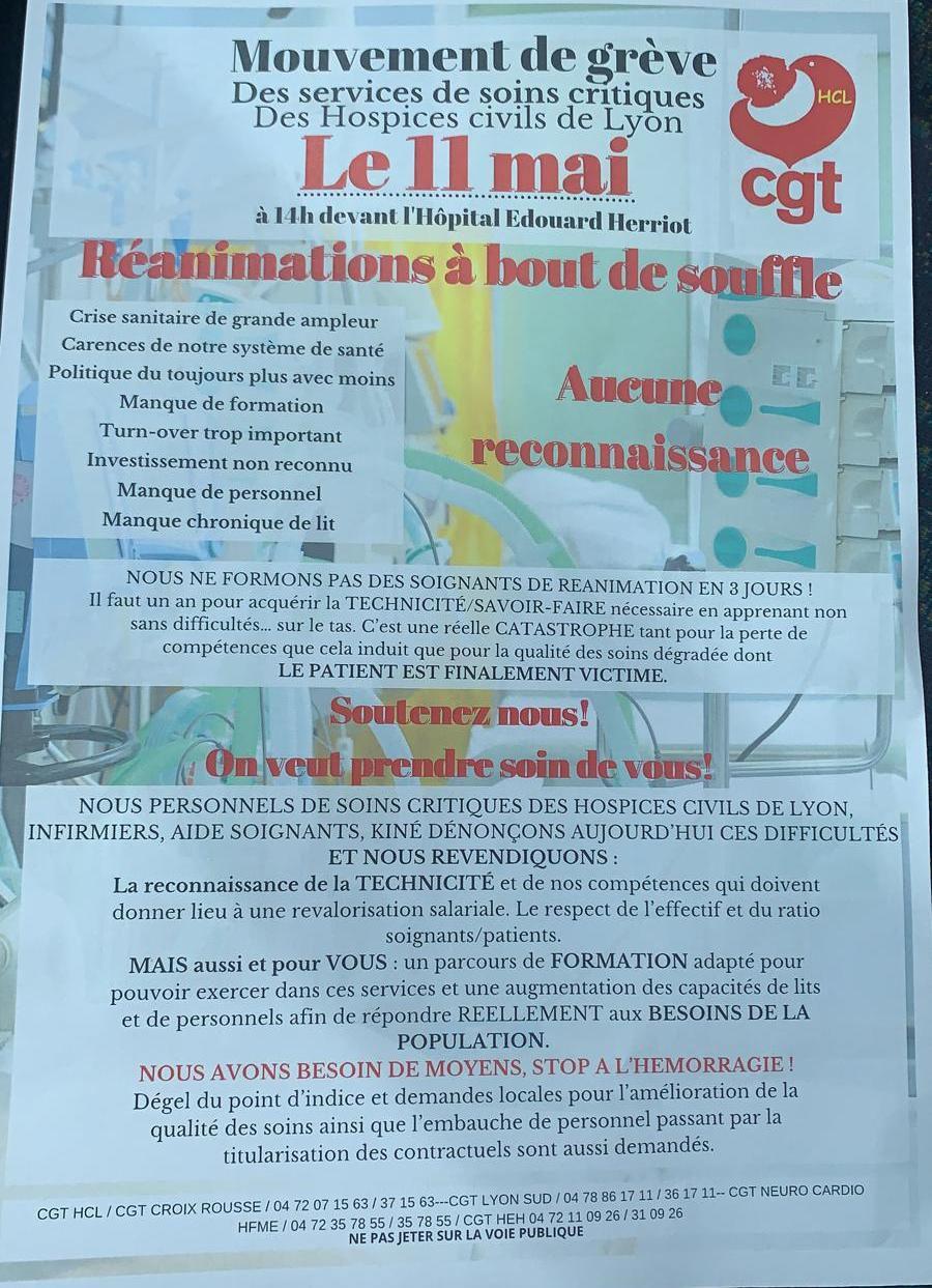 Santé : En Réa ils n'en peuvent plus et vont le dire dans la rue !