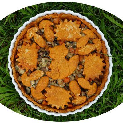 Tourte aux champignons, carottes & tofu fumé - IG Bas