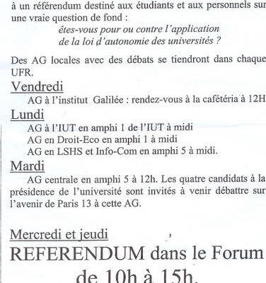 Actions du comité de mobilisation des étudiants de l'Université Paris 13