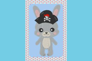Broderie Lapin pirate