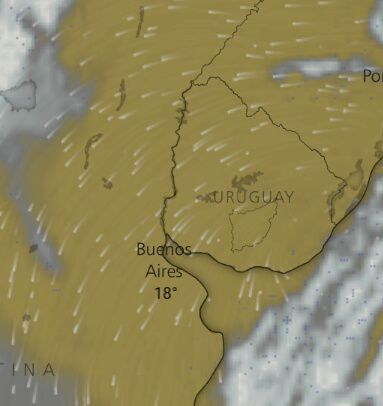 En la imagen se observa la nubosidad en Argentina